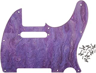 FLEOR Purple Shell 8 hoyos Pickguards Telecaster con tornillos para guitarra moderna estilo Fender estándar, material acrílico de 1 capa