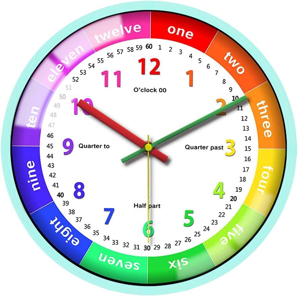 MagiDeal Modern Quartz Wall Clock Silent Kids Bedroom Classroom