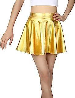 HDE Girl's Metallic Skater Skort Dance Athletic Shiny Holographic Scooter Skirt