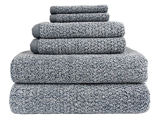 Everplush Diamond Jacquard 6 Piece Bath Towel Set, Dusk (Grey Blue)