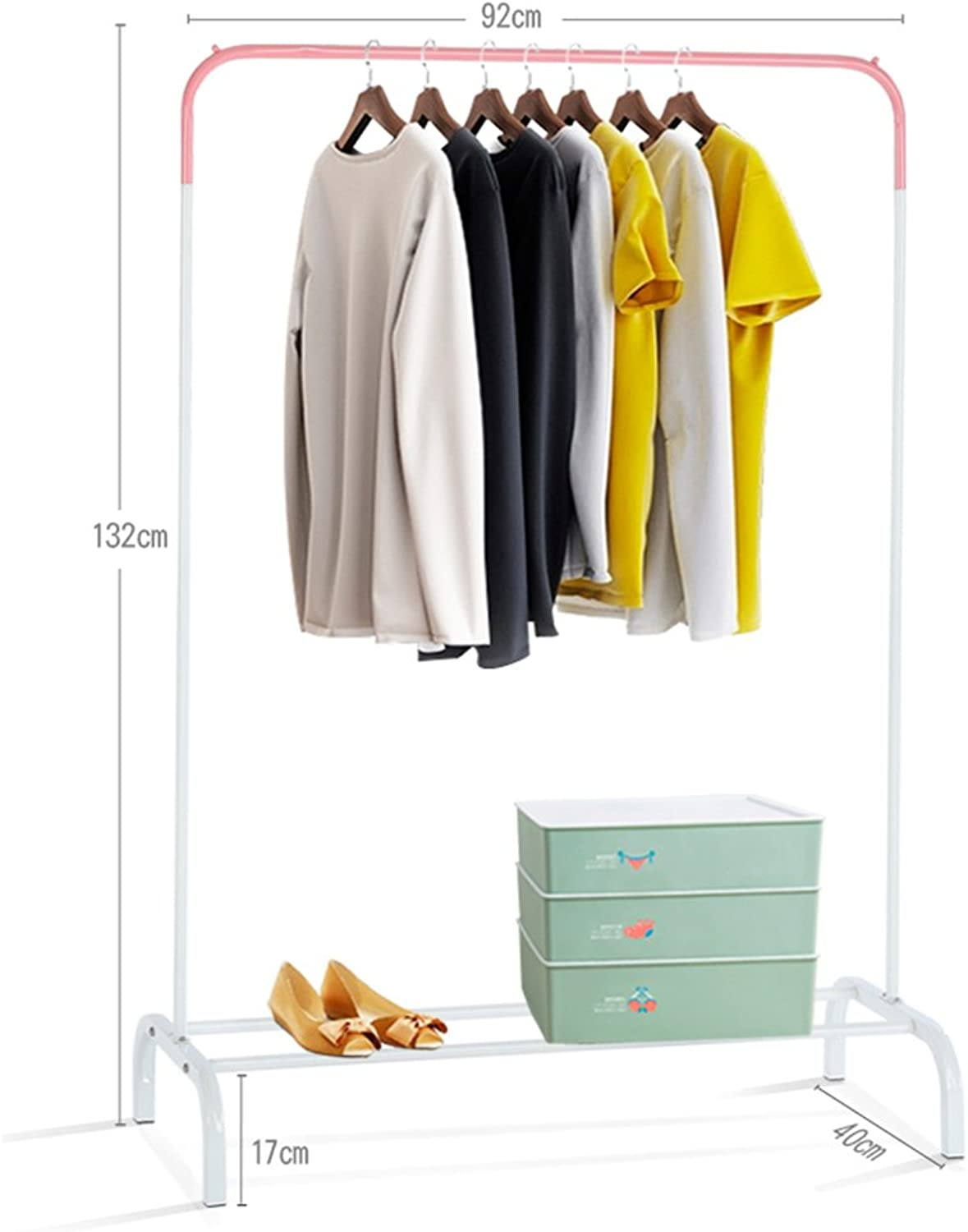 ZHIRONG Coat Rack Multifunction Floor Type Easy to Move Hangers Clothes Hanger Two Sizes (color   White+Pink, Size   132  92cm)
