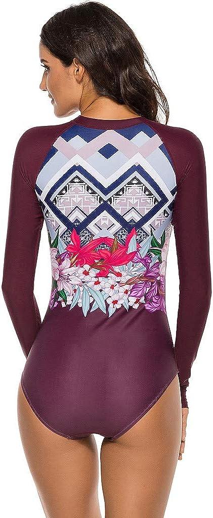 Women Long Sleeve Rash Guard One Piece Swimsuit Print Zipper UPF 50 Swimwear Tummy Control Beachwear Patchwork Bathing Suit