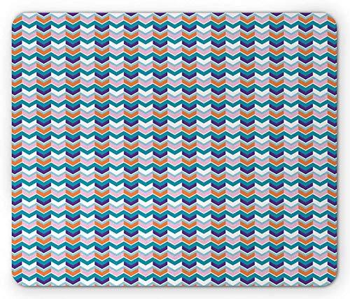 Pfeil-Maus-Pad, bunte, von Chevron inspirierte horizontale Streifen, ideal für Wohnaccessoires, rechteckiges, rutschfestes Gummi-Mauspad, Standardgröße, mehrfarbig