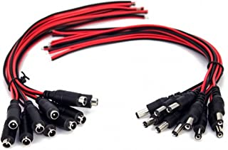 10 Pairs DC Power Pigtail Cable 12V 5A Male Female Connectors DC Cable for CCTV Security Camera Power Adapter Connectors