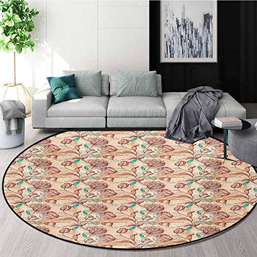 Learn More About RUGSMAT Romantic Rug Round Home Decor Area Rugs,Ornamental Tulips with Outline Styl...