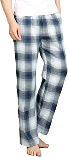 Mens Pyjama Pants Plaid Sleepwear Classic Checked Cotton Pyjama Trouser Bottoms Elastic Waist Nightwear