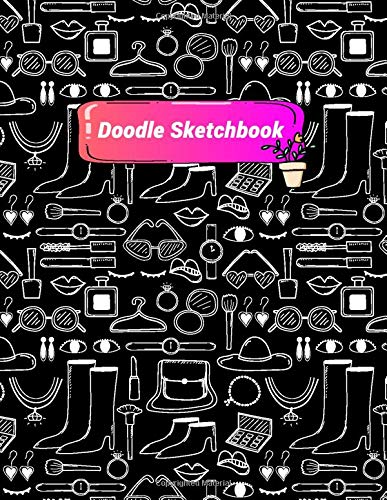 Doodle Sketchbook: Women Makeup Ornaments Doodle Pattern Sketchbook for Drawing, Doodling, Writing or Sketching
