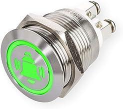 LED-drukknop met bel-symbool, inbouw Ø 19 mm platte roestvrijstalen knop met gekleurd verlicht bel-symbool en schroefconta...