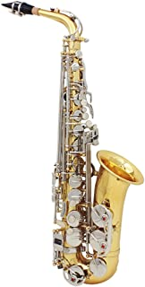 ammoon LADE Alto Saxophone Sax Glossy Brass Engraved Eb E-Flat Natural White Shell Button Wind Instrument with Case Mute Gloves Cleaning Cloth Grease Belt Brush