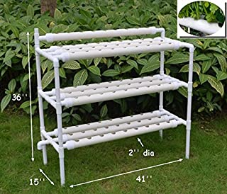 INTBUYING Hydroponic Grow Kit White Pipe 90 Flow Deep Water Culture Garden Vegetable Tool Planting System Kit 110V 10 Pipes 3 Layers90 Sites