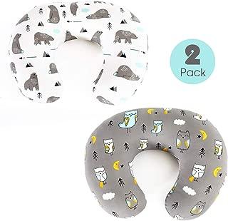Stretchy-Nursing-Pillow-Covers-BROLEX 2 Pack Snug Fitted Nursing Pillow Slipcovers for Breastfeeding Moms,Ultra Soft Breathable for Infant Nursing Pillow,Owl & Bear