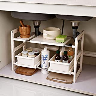 Under Sink Expandable Shelf Organizer with Drawers 2 Tier Kitchen Multifunction Storage Rack with Expandable Height Depth ...