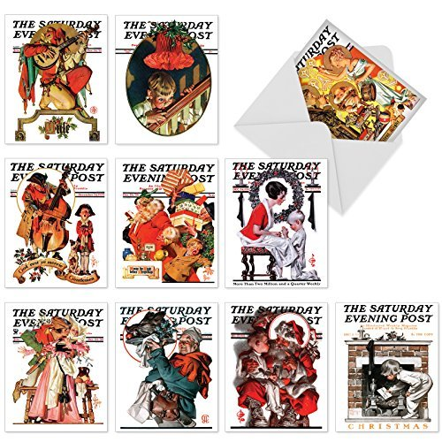 The Best Card Company - 10 Retro Merry Christmas Cards Bulk - Vintage Holiday Notecards with Envelopes (4 x 5.12 Inch) - Christmas Evening Post M6060