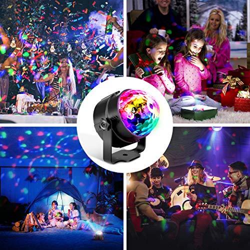 Techole Discokugel LED Party Lampe Musikgesteuert Disco Lichteffekte Discolicht mit 4M USB Kabel, 7 Farbe RGB 360° Drehbares Partylicht mit Fernbedienung für Weihnachten, Kinder, Kinderzimmer, Party - 6
