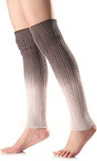 VAILANG Womens Girls Winter Gradient Color Cable Knitted Calentadores de piernas largas Calcetines sin pies Nieve al Aire Libre Esquí Rodilla Crochet Boot High Puños Gris