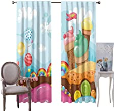 GUUVOR Ice Cream Decor Room Darkened Heat Insulation Curtain Retro Cupcakes Teapots Candies Cookies on Polka Dots Vintage Kitchen Print Living Room W96 x L84 Inch Multicolor