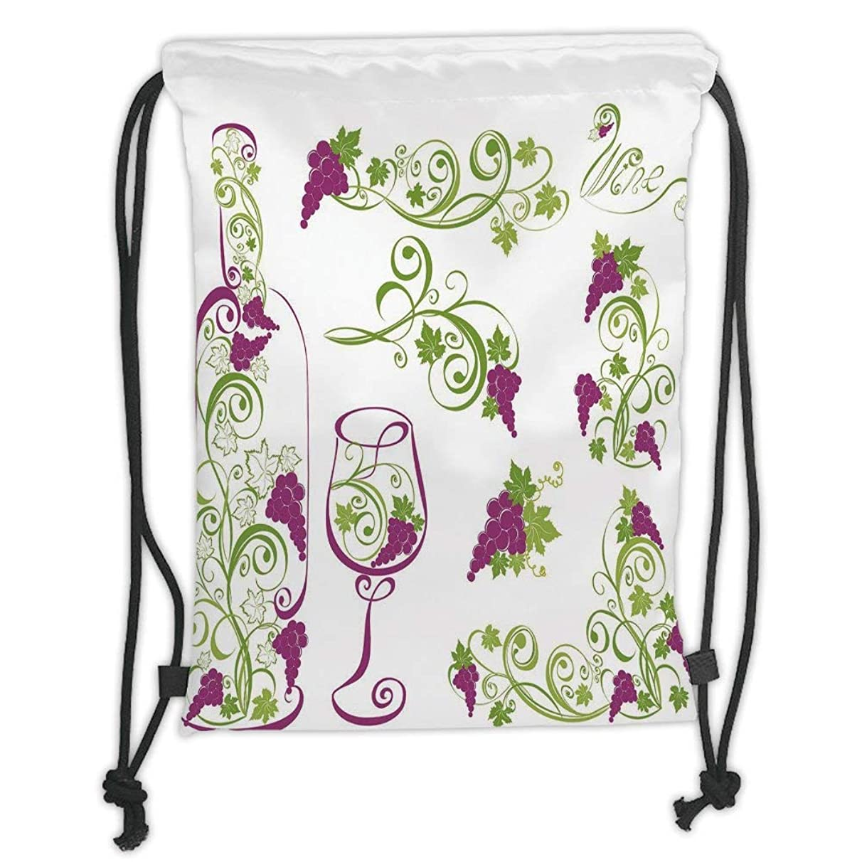 New Fashion Gym Drawstring Backpacks Bags,Wine,Wine Bottle and Glass Grapevines Lettering with Swirled Branches Lines Decorative,Purple Lime Green White Soft Satin,Adjustable Stri