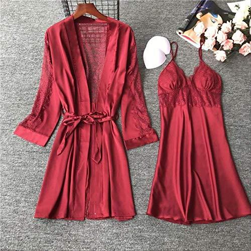 XFLOWR Kant Nachtjapon Dames Effen Kleur IJs-Zijde Vest+jurk Comfort Slaapmode Vrouwen Zachte Satijn Huiskleding Voor Lente en Zomer