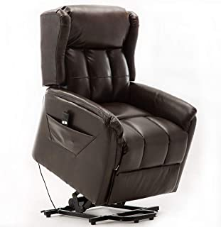 Power Lift Recliner Chair for Elderly, Bonzy Home Living Room Chair with Overstuffed Design, Power Lift Chair with Safety Motion Reclining Mechanism, Brown