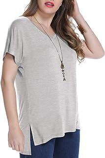 JollieLovin Women's Short Sleeve T Shirt V Neck Loose Tops with Side Split