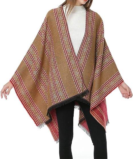MEIWO Femmes Hiver R/éversible Taille Libre Couverture Poncho Cape Plaid Motif Wrap Ch/âle Ray/é Cardigans