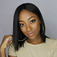 Addcolo Full Lace Bob Human Hair Wig Brazilian Virgin Human Hair Short Wigs Bob Cut Wig For Black Women Glueless Lace Front Wigs Pre Plucked Natural Color(Full Lace Wig 10