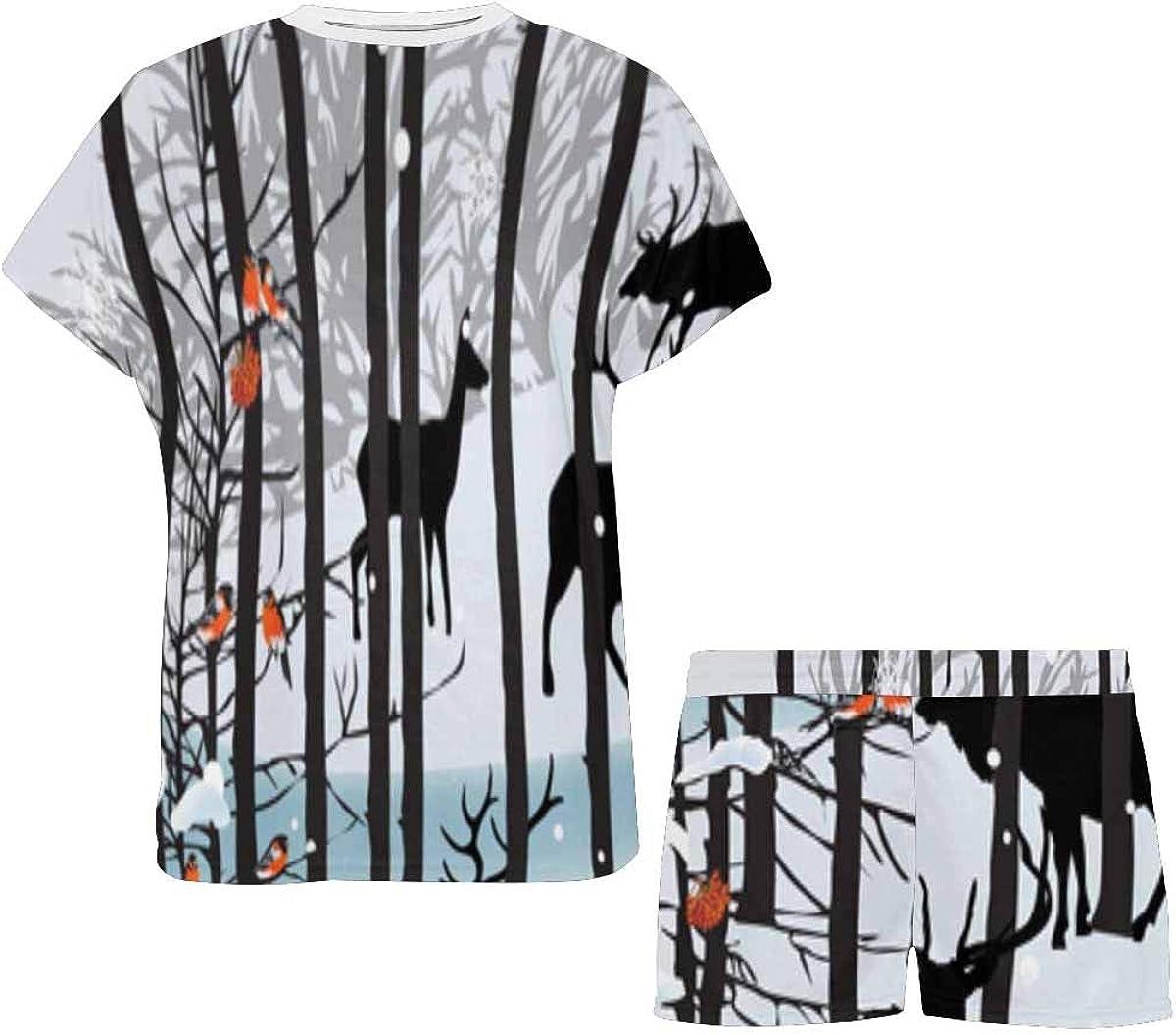 INTERESTPRINT Deers in White Winter Landscape Women's Breathable 2 Piece Shorts Pajama Sleepwear Set