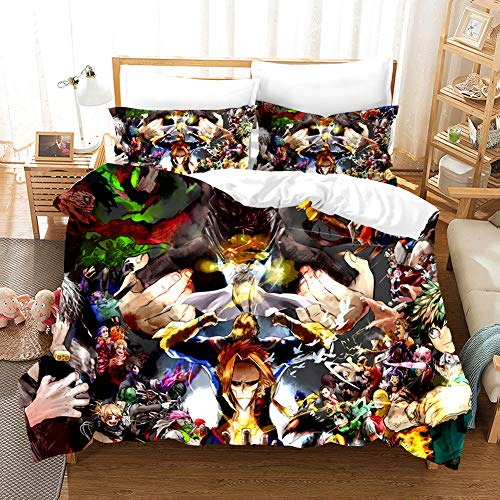 PTNQAZ Anime My Hero Academia Juego de ropa de cama para niños y niños, fundas de edredón con fundas de almohada de dibujos animados para el hogar, ropa de cama para niños (sin sábana) (Individual)