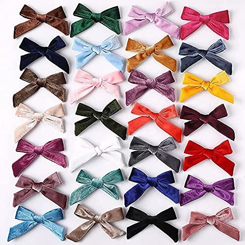 Jsmhh 28 piezas lindos lazos de terciopelo bebé niñas pelo clips horquillas encantador rosa arco rojo barrettes hairgrips headwear accesorios para el cabello