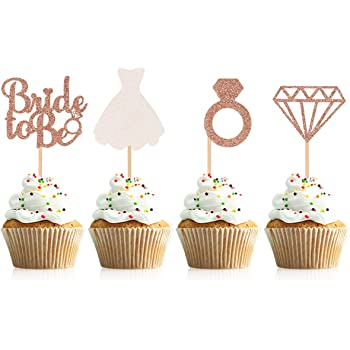 Amazon Com Bridal Shower Cupcake Topper Sparkling Glitter Rose Gold Bride To Be Diamond Ring Wedding Dress Cupcake Toppers For Engagement Wedding Bachelorette Party Bridal Shower 1 Toys Games