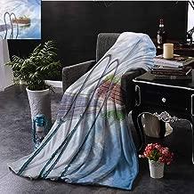 EDZEL Custom Blankets Aqua Swimming Pool Caribbean Plants Digital Printing 84x54 Inch