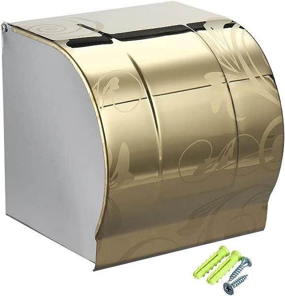 Uxcell 卫生纸卷架分配器 W 盖 304 不锈钢壁挂式金色调