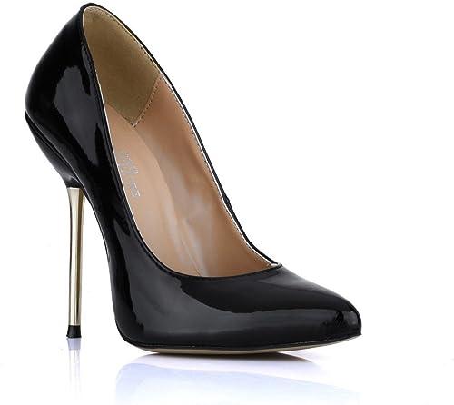 Les femmes célibataires de nouveaux produits dans la LO a souligné chaussures femmes en cuir verni noir métal avec les chaussures à haut talon