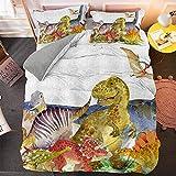 PTBDWOSZ® Juego De Funda Nórdica Cama Infantil, 3 Piezas Impresión Animal De Dibujos Animados De Dinosaurios 135X200 Cm 3D Ropa De Cama De Microfibra Funda De Edredón con 2 Fundas De Almohada, Muy Su