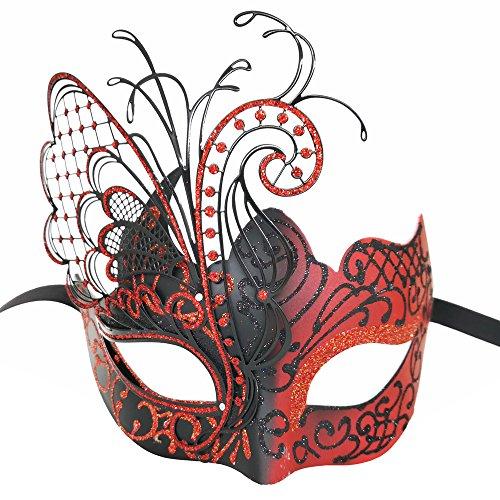 CCUFO [Flying Butterfly] rot / schwarz Gesicht [funkelnden Flügel] Laser Cut Metall venezianischen Frauen Maske Maskerade / Party / Ball Prom / Mardi Gras / Hochzeit / Wanddekoration
