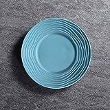 W-SHTAO L-WSWS Sombrero de Paja de cerámica Ins Vajilla Simple Desayuno Occidental Sopa de Placa de los Cubiertos de 8,5 Pulgadas