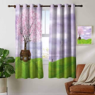 Nature Blackout curtains - gasket insulation Single House by Blooming Spring Tree and Little Girl with Kite Idyllic picture Blackout curtains for the living room W63 x L72 Inch Lime Green Lilac