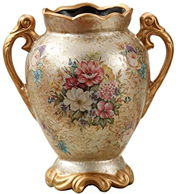 Two 17 inch Fiberglass Urn with Handles Black Bronze Pot Planter Container Vase
