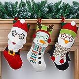 HYLYING Juego de 3 medias navideñas, 17,7 Navidad, decoración de fiestas, adornos 3D, felpa, muñeco de nieve, reno, Navidad, para árbol de Navidad, chimenea, árbol de Navidad