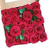 ACDE Fleurs Artificielles, Roses Artificielle 25PCS Mousse Rose Faux Regard Réel avec Feuille et Tige Ajustable pour DIY Mariage Bouquets Mariée Fête Accueil Décorations (Rouge Foncé)