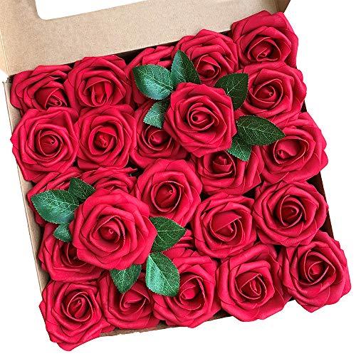 ACDE Flores Artificial, Rosa Artificial 25PCS Rosa Falsa Espuma Mirada Real con Hoja y Vástago Ajustable para Bricolaje Ramos de Boda Decoraciones para el Hogar Nupciales (Rojo Oscuro)