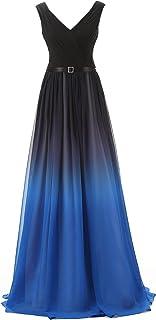 فستان سهرة رسمي طويل من الشيفون بألوان متدرجة للنساء من Belle House