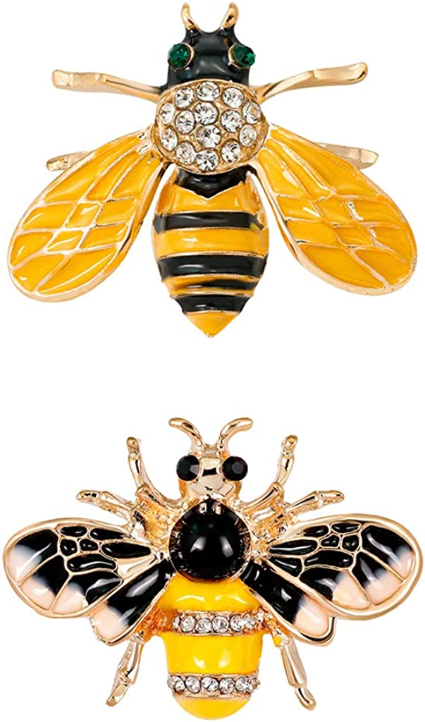 Colcolo 2pcs Insect Bee Bug Brooch Rhinestone Collar Lapel Limited time for free shipping B New Free Shipping Pin