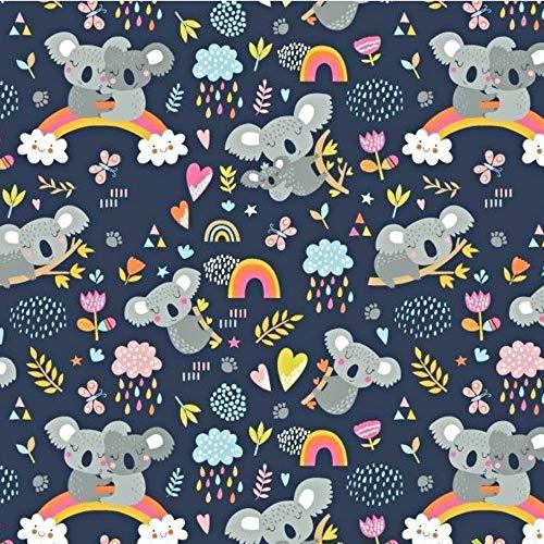 Pingianer Koala - Tessuto in 100% cotone per bambini, vendita al metro, per lavori di cucito (coniglietto di luna e cuore bianco) (Koala arcobaleno blu scuro, 100 x 160 cm
