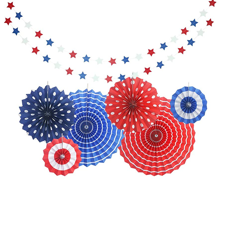 LALALA party 4th of July Decorations USA Star Balloons | Paper Fan for Patriotic Decorations | Star Garland | Independence Day Party Supplies (8)