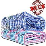 SHARABANI™ Hand Loom 100% Pure Cotton Bath Checks Towels 65 inches /31 inches