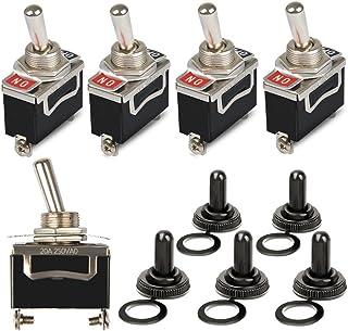 OFNMY 5pcs Interruptor Basculante KN3-101 de Metal con Tapa 2 pin 15V 20A para Luz de Salpicadero de Coche con Tapa Imperm...