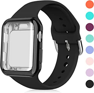 Huishang Compatible for Apple Watch Band 38mm with Screen Protector Case, Soft Silicone Sport Replacement Wristband for iWatch Series 3 2 1 (38mm, Black)