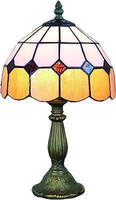 Gweat 8 pouces Lampe de table ambre de style tiffany méditerranéen Lampe de chevet (12 couleurs pour choisir)