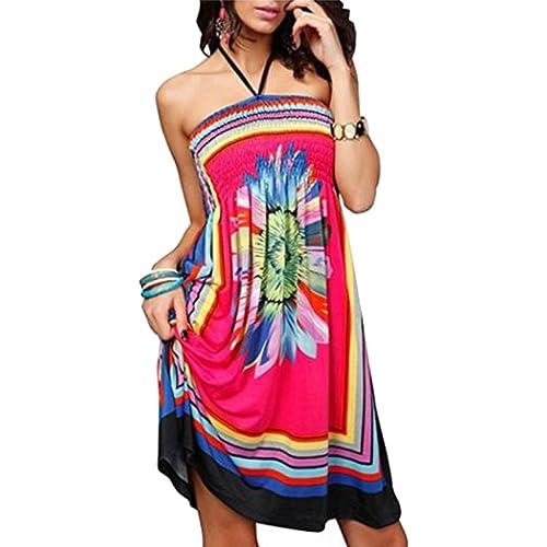 0472e03f74 oboss Women Strapless Ethnic Boho Bandeau Beach Sun Dress Loose Bathing  Suit Swimsuit Cover Up